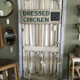 Dressed Chicken Wood Sign - Victorian Wire Plant Stand