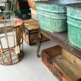 Metal Strap Tall Basket & Suitcase